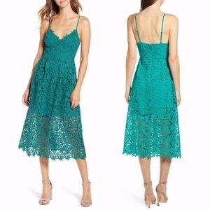 NEW ASTR Green CROCHET LACE A LINE Midi DRESS S M